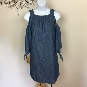 MADEWELL chambray cold shoulder dress. Denim XXS